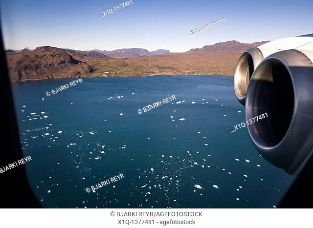Plane flying from Narsarsuaq, South Greenland