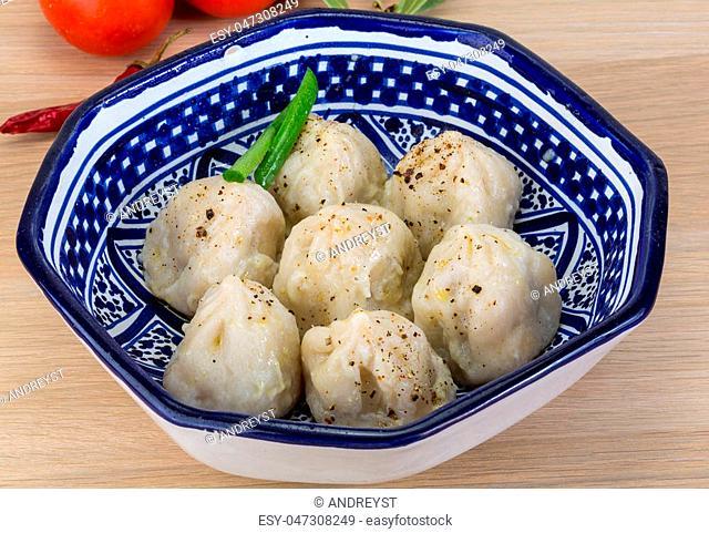 Georgian dumplings - Khinkali with minced meat and herbs