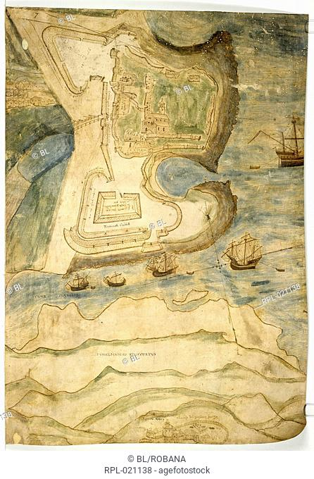 Tynemouth Castle, Whole folio Plan of Tynemouth Castle Originally published/produced in 1545