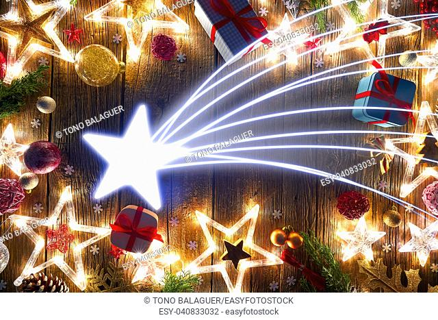 Christmas star comet postcard vintage on wooden background