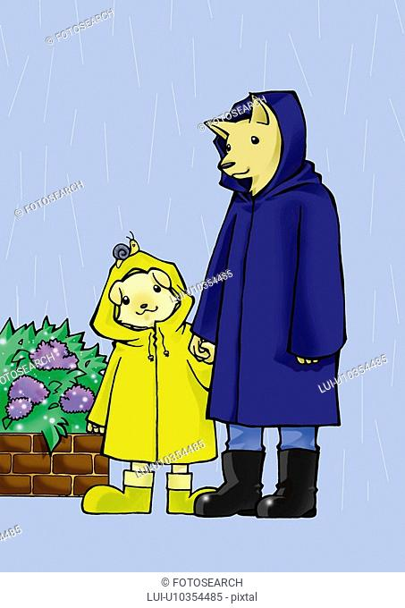 Two dogs in raincoat holding hands, front view, side view, blue background