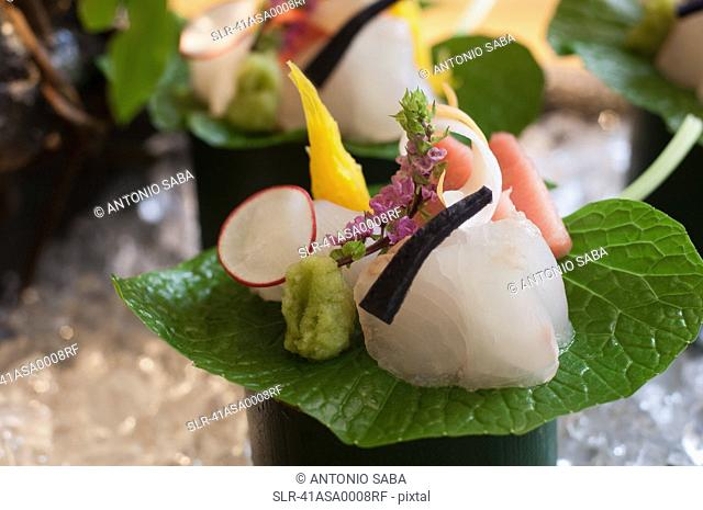 Close up of ornate piece of sushi