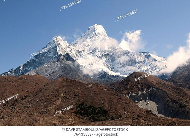 The mighty peak of Ama Dablam in the Everest Region of Nepal
