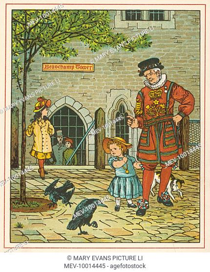 A Yeoman of the Guard (Beefeater) with the famous ravens of the Tower