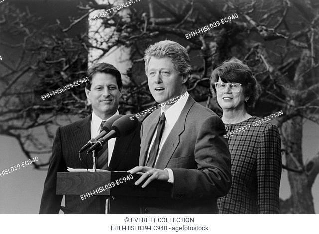 President Bill Clinton with VP Albert Gore and Attorney General Janet Reno. Reno was the first woman Attorney General and served for 8 years