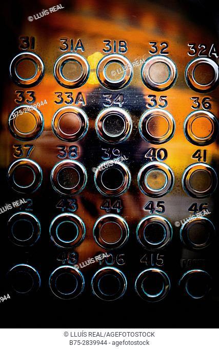 Rows of doorbells on a metal panel. Kensington Gore, Kensington, London, England