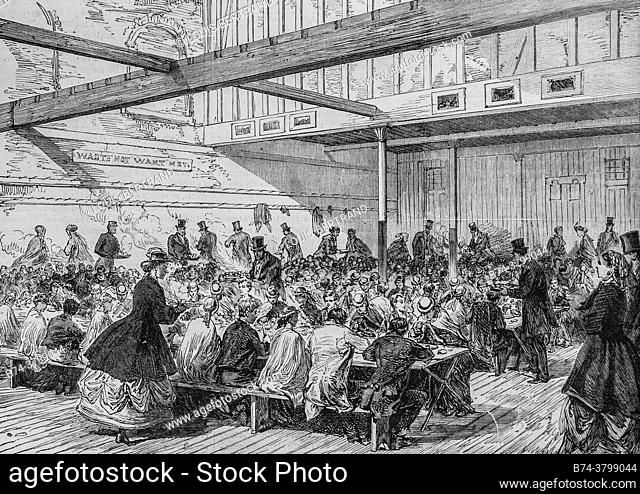 banquet of poor children in the parish of saint giles in london, the illustrious universe, editor michel levy 1868