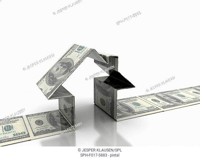 House made from dollar bills, illustration