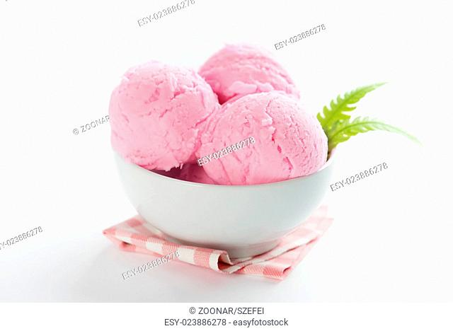 Pink ice cream in bowl