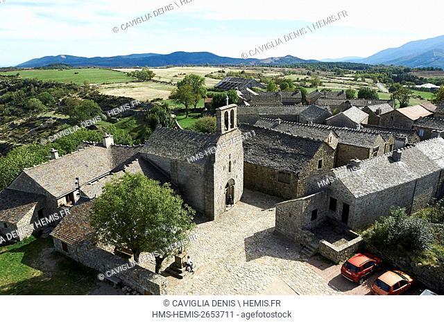 France, Lozere, La Garde Guerin, labelled Les Plus Beaux Villages de France (The Most beautiful Villages of France), height view
