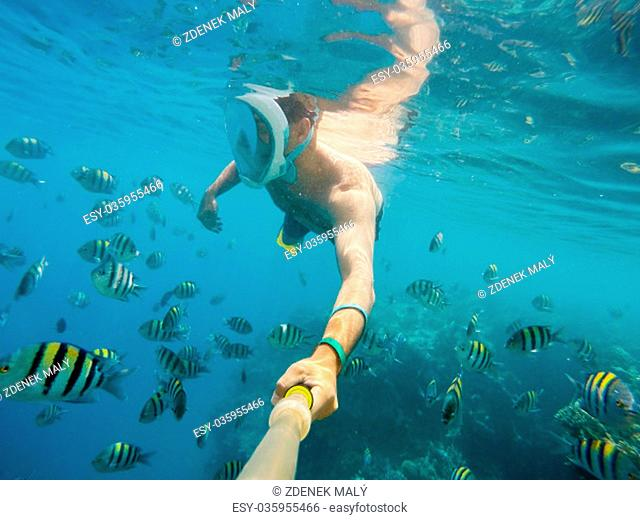 man snorkel in underwater exotic tropics paradise with fish and coral reef, beautiful view of tropical sea. Marsa alam, Egypt