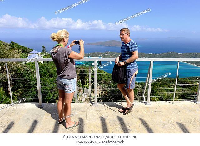 Visitor takes photo Magen's Bay St Thomas Virgin Islands USVI Caribbean US Territory Charlotte Amalie