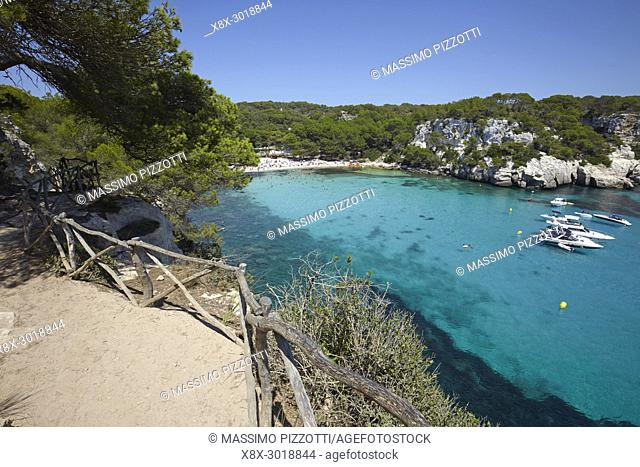 The footpath along Cala Macarella in Menorca,Balearic Islands, Spain