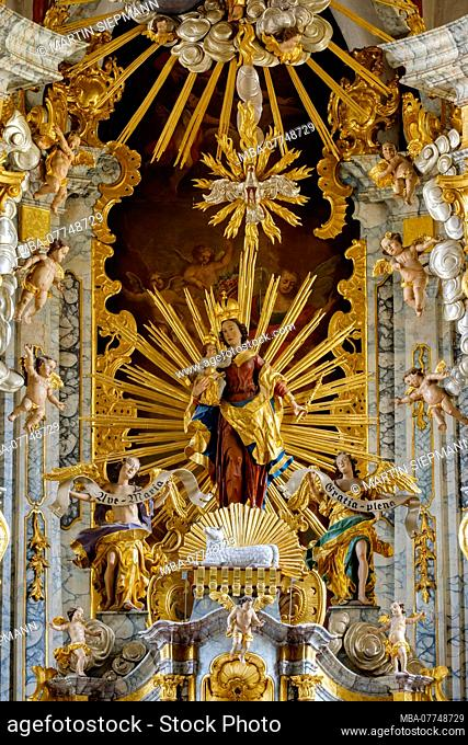 baroque high altar, parish church the Assumption Day, Chammünster, in Cham, the Bavarian Forest, Upper Palatinate, Bavarians, Germany