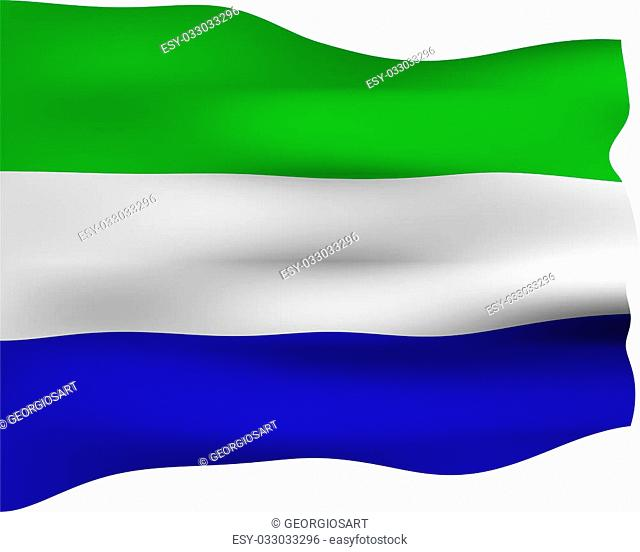 3d flag of Sierra Leone isolated in white