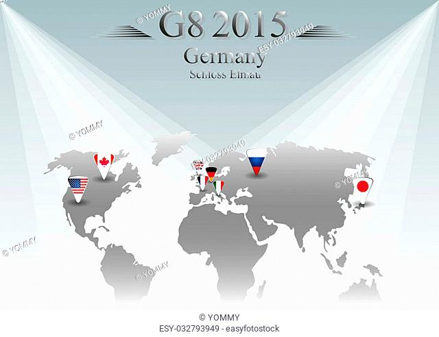 Illustration releated to G8 summit in germany in 2015 with eight flags in triangles and with sign placed on world map and year in the middle and with place of...