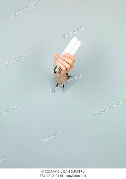 female hand holding lightbulb
