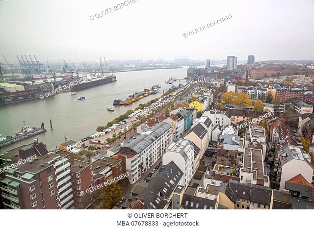 Europe, Germany, Hamburg, view of the Elbe river and the harbour