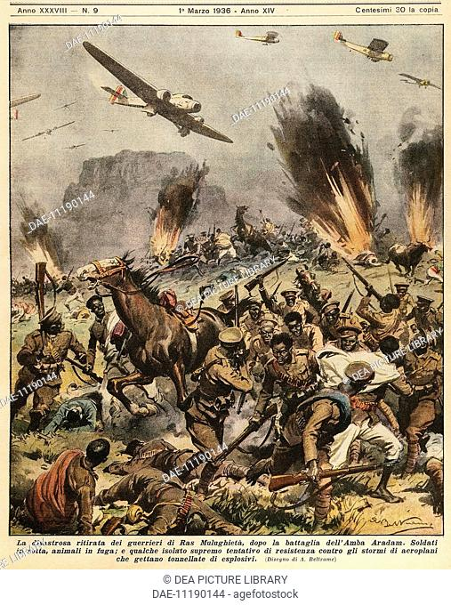 Battle of Amba Aradam, 1936. Illustrator Achille Beltrame (1871-1945), from La Domenica del Corriere, 1st March 1936