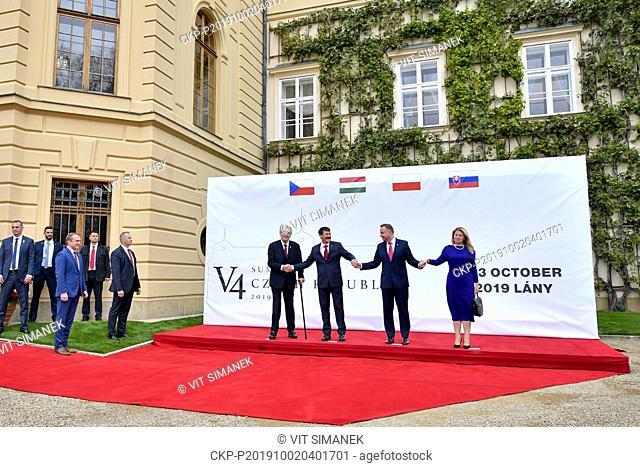 L-R Czech President Milos Zeman, Hungarian President Janos Ader, Polish President Andrzej Duda and Slovak President Zuzana Caputova attend the presidential...