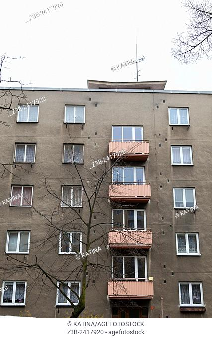Czech apartment building panalaky in southern Bohemia, Czech Republic, Europe