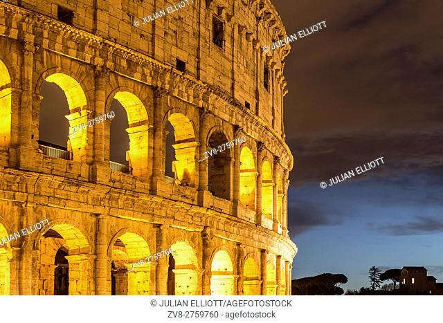 The Roman Colosseum in Rome. The arena dates from AD 80 and was the scene of many bloody battle amongst the gladiators