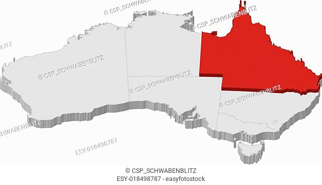 Australia Map Grey.Queensland Australia Map In Grey Stock Photos And Images Age Fotostock