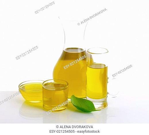 Olive oil in glass vessels