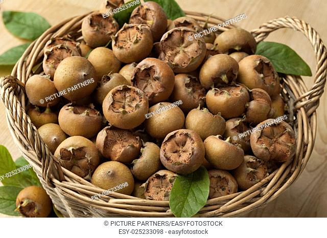 Fresh picked medlars in a basket