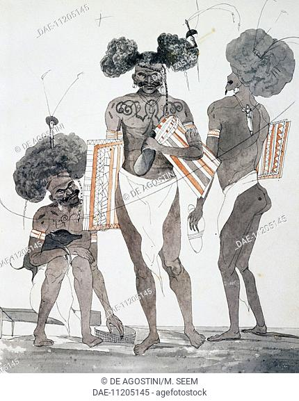 Inhabitants of Port Dori, watercolour by Jules-Louis Lejeune, based on Voyage around the world, 1822-1825, by Louis Isidore Duperrey (1786-1865)