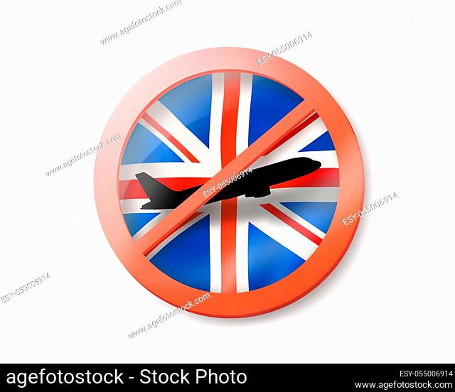 Prohibition sign with crossed out black plane on the British flag on a white background, copy space. Restriction of entry into Great Britain