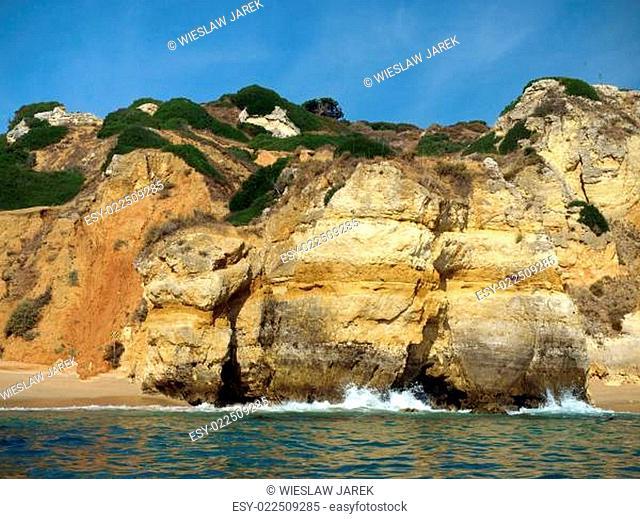 A section of the idyllic Praia de Rocha beach on the Algarve region