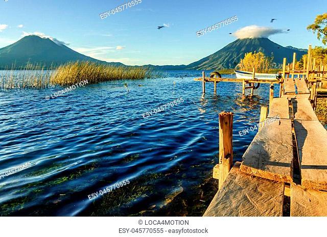 Early morning light on 3 volcanoes: Toliman (Atitlan behind) & San Pedro on Lake Atitlan, Guatemala
