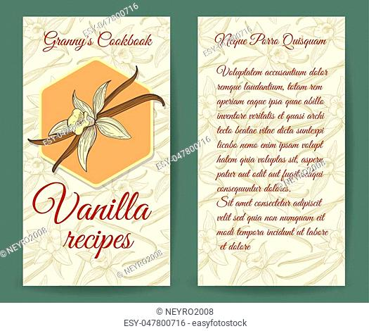 Vanilla brochure design template with aroma vanilla vector botanical drawing background. Card with vanilla recipes illustration