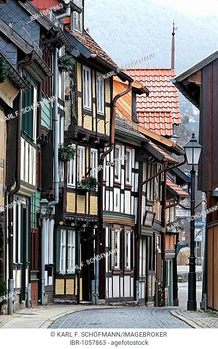 Old town alley with frame houses, Wernigerode, Harz, Saxony-Anhalt, Germany, Europe