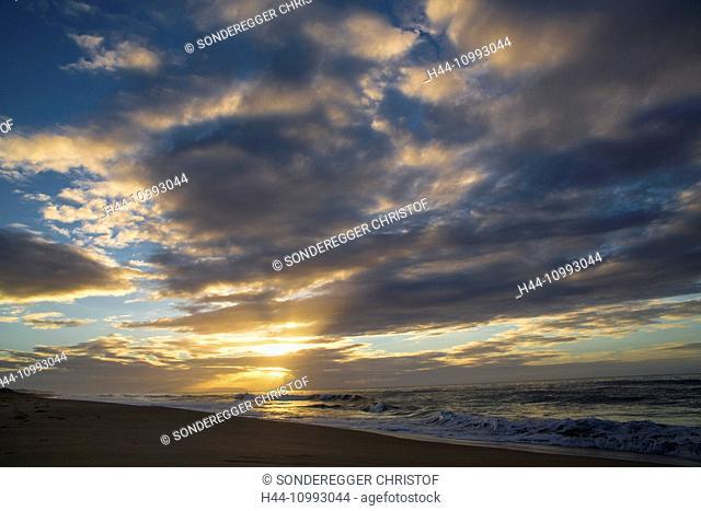 Kauai, sundown, west coast, coast, Kauai, Polihale Heiau, USA, Hawaii, America