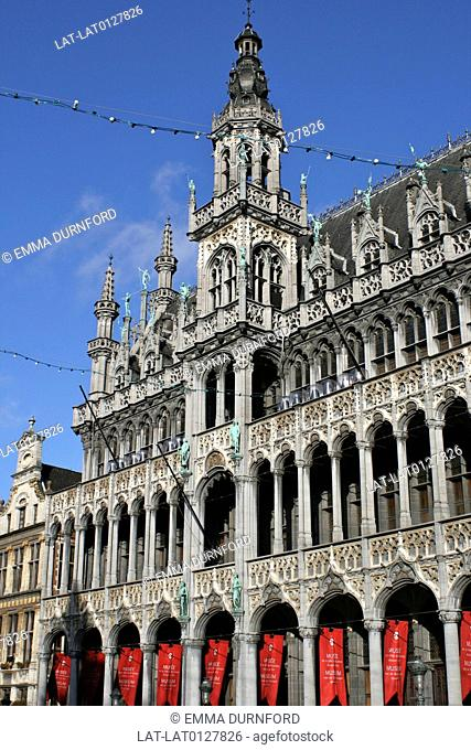 The Kings House Bread House or La Maison du Roi or Broodhuis in Dutch built in 1536 and restored in 1860 in neo-Gothic style, situated in the Grote Markt