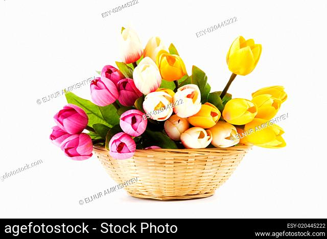 Bouquet of colorful tulips on the table