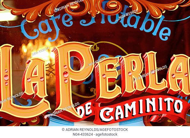 Bar La Perla sign, La Boca district. Buenos Aires, Argentina