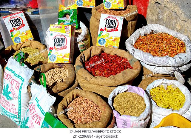 chillies, grains and rice in sacks at the market of Kaza, in Spiti valley in the Himalayas in Himachal Pradesh, India