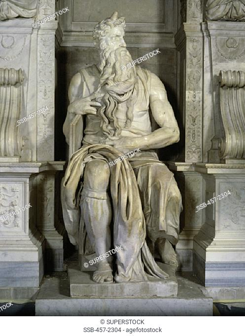 Moses ( Full Frontal View) Michelangelo Buonarroti (1475-1564/ Italian) Marble San Pietro in Vincoli, Rome, Italy