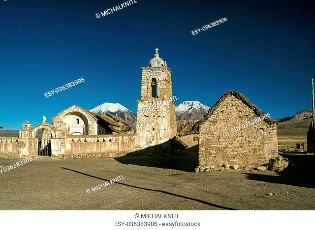 Picturesque old stone church in Sajama national park in Bolivia
