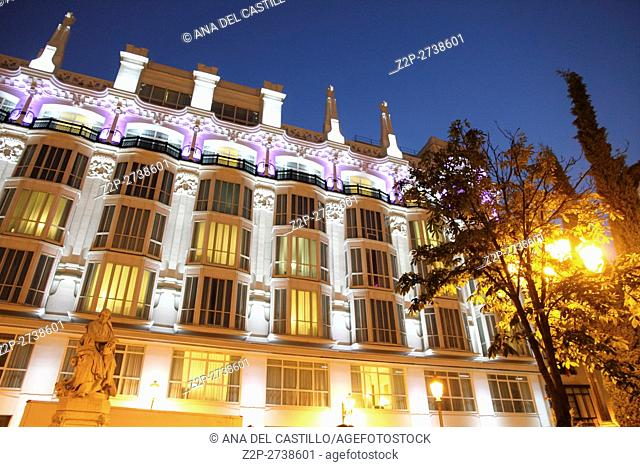Santa Ana square and Melia hotel at dusk Madrid Spain