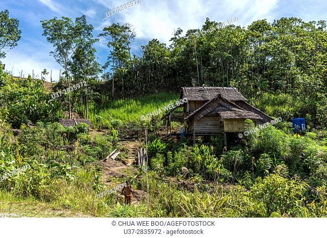 A Bidayuh houses in Kampung Gumbang, Bau, Sarawak, Malaysia