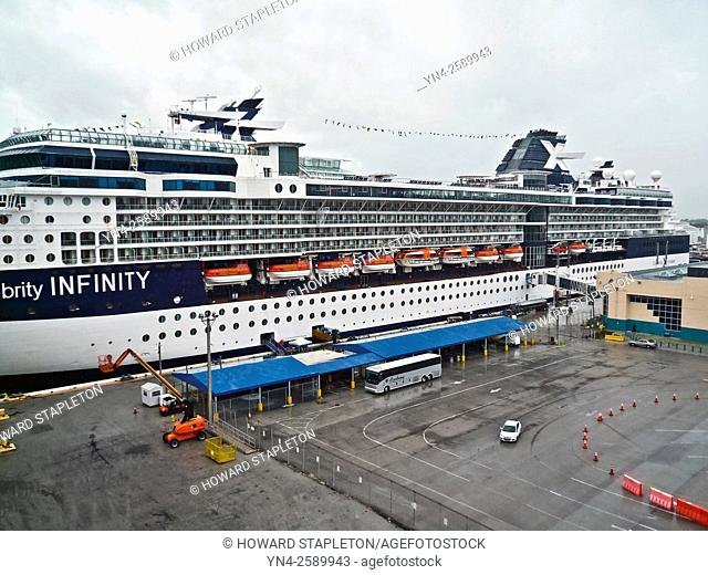 Cruise ship Celebrity Infinity docked at the Port Everglades Cruise Terminal in Fort Lauderdale, Florida