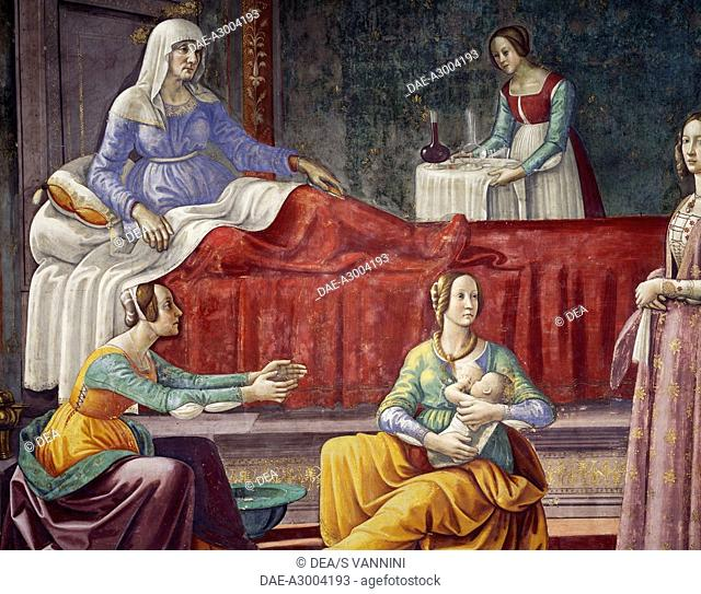 Female figures, detail from Stories of the Virgin, fresco painted between 1485 and 1490 by Domenico Ghirlandaio (1449-1494) and assistants