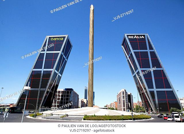 Madrid, Spain, Front view of Bank Bankia and Realia, one of the largest of Spain. The Puerta de Europa towers (Gate of Europe or just Torres KIO) are twin...