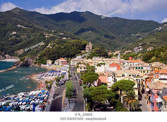 The town of Moneglia on the Italian Riviera