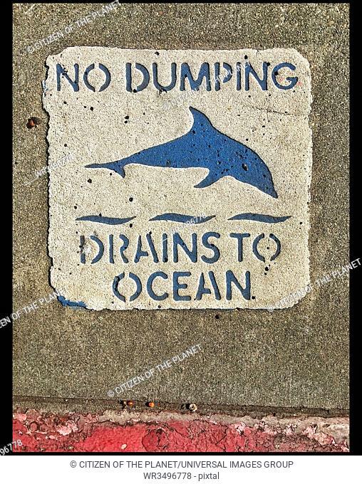 No dumping sign near Storm drain