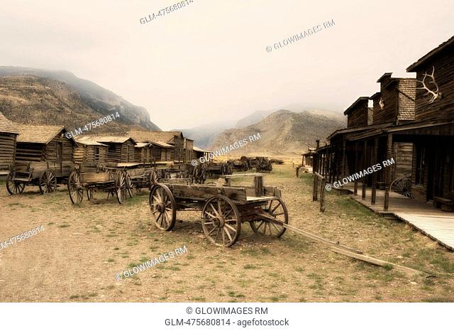 Abandoned horse carts in a town, Old Trail Town, Cody, Wyoming, USA